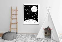 Kids room ideas Black white nursery ideas scandinavian wall art baby room