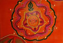 MANDALA ART ORANGE SHADES / PAINTINGS-ACRILICS-MANDALA