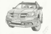 Drawings of cars. / Drawings of cars.