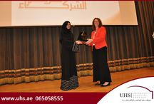 Ms. Afaf Ibrahim Al Marri facilitates Ms. Rose of UHS / Ms. Afaf Ibrahim Al Marri, Director of the Sharjah Social Services Department (SSSD) facilitating Ms. Carol Kathleen Rose, Director of Nursing, University Hospital Sharjah at the Sharjah Cultural Palace for being their preferred partner in healthcare.