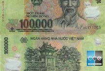 Billets Vietnam / Les billets de banque Vietnam en circulation sont : 1000, 2000, 5000 (en coton), 10 000, 20 000, 50 000, 100 000, 200 000, 500 000 (en polymère) Dongs. La face de tous les billets de banque contient l'image du Président Ho Chi Minh – un héros national – en plus du titre « La République socialiste du Vietnam », le numéro de série et la valeur du billet en nombre et en texte.