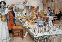 """Julbord le repas de noël Nordique / Un """"julbord"""" ou un buffet traditionnel des Noël nordiques"""