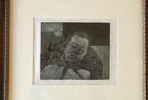 my work Slumbering boy on way to Finchley Rd #mezzotint #etching #print
