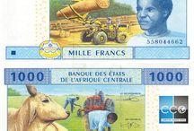 Billets Afrique Centrale / Le franc CFA concerne six États d'Afrique centrale : le Cameroun, la République centrafricaine, la République du Congo, le Gabon, la Guinée équatoriale et le Tchad. Le code ISO est XAF ;