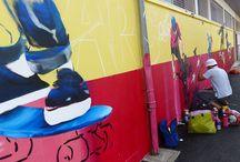 Fresque du Skate Park / Découvrez la fresque du skate park, réalisée par Abdel Kader aidé de 6 jeunes Voironnais !