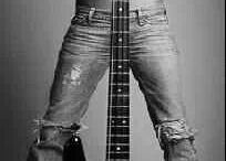 Model and guitar