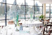 Zimowy ślub dekoracje kwiatowe sali weselnej