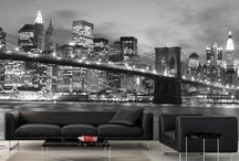 """City Murals / A city mural adds a splash of glam and excitement to your walls. Skylines from New York to Paris turn a boring wall into a """"Wow!"""" wall."""