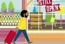 Small Business vs Holiday / I was approached by 02 telecom in the UK to illustrate a magazine article addressing the importance for small high street business owners to take a holiday away from the stresses of running an enterprise – and highlighting that it should be guilt free!