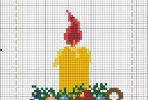 noël & bonne année / petit modèle au point de croix sur le thème de noël & bonne année