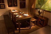 mesa madeira com bancos
