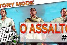 Grand Theft Auto V : Modo história / Grand Theft Auto V, ou simplesmente GTA V, é um jogo de ação e aventura em mundo aberto desenvolvido pela empresa britânica Rockstar North e publicado pela Rockstar Games no dia 17 de setembro de 2013 para os videogames Playstation 3 e Xbox 360. Uma versão melhorada do game foi lançada para Playstation 4 e Xbox One em 18 de novembro de 2014 e para computadores foi lançada no dia 14 de abril de 2015.