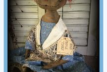 Early Dolls dressed in Vintage Fabrics