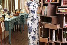Silk Cheongsam Qipao Chinese Dress / Silk Cheongsam Qipao Chinese Dress