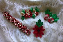 Beauty Red and White Kanzashi
