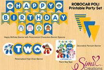 Decore : robbot car poly birthday