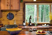 Natural Wood Countertops / Natural wood countertops designed and crafted from live edge redwood, black walnut and maple