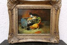 Fine Antique Oil Painting on Wood of Kittens, Cats, Signed: J. Gilde