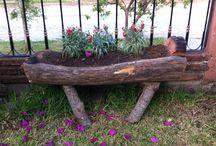 Canoa de Tronco para plantas / Canoa para jardín para plantas