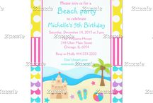 Beach Party Pink and Yellow Birthday / This collection features a summer beach scene. There is a sandcastle, flip flop sandals, a beach ball, palm tree and starfish. You can see waves in the background. The background consists of bright yellow polka dots, hot pink stripes and colourful waves of blue, yellow, purple and pink.