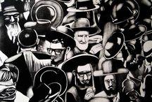 """Exhibition """"PATRICK WHITEHEAD"""" / A abordagem de Patrick Whitehead explora a vida em branco e preto em cenas do quotidiano. As intervenções beiram a fantasia, ao mesmo tempo a temática do artista é o mundo, a existência. Arte e vida mesclam-se, contrastes fortes dão profundidade. O habitat é tipicamente urbano, horizontes tolhidos pelo caos das metrópoles e suas multidões. As imagens estão envoltas a nostalgia e deixam brotar do inconsciente a representação do mundo. (José Roberto Moreira - Curador e Galerista)."""