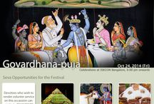 Govardhana Puja / Govardhana Puja is celebrated in the month of Karthika (October - November) to commemorate the pastime of Lord Sri Krishna lifting the Govardhana Hill to protect the residents of Vrindavana from the wrath of Indra.