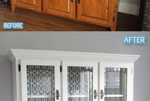 painted china cabinets and old wooden furniture