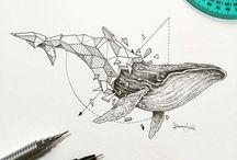 animaux origami tattoo