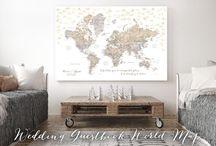 ~ Push pin maps ~ Wedding guestbook maps by blursbyai