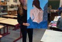 The naked women / Schilderij van een vrouw bij een strandgebied #drawing