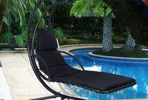 Black Metal Swing Seat Hammock Swinging Sun Lounger Outdoor Patio Summer Garden