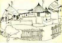 ASHRAM SKETCHES FOR T V SERIAL 'PARASHURAM'