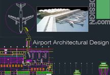 "Airport architecture design / AutoCad ""DWG"" file which includes a collection of several airport architectural design samples, together with some  drawings about airport terminal structure, airport control tower and other details."