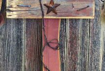 barn wood, barbed wire and horse shoes