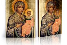 Ikony/Icons / Przepiękne ikony, wykonane ręcznie na desce olchowej, ręcznie złocone złotem płatkowym. Beautiful icons made on wood, unique imprint and gilded with gold leaf. 3 different sizes.