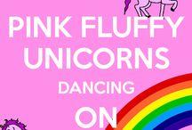 Pink fluffy unicorns dancing on rainbows
