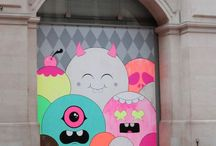 BUFF MONSTER by WIDEWALLS / Buff Monster is an American artist known for putting up thousands of hand-silkscreened posters of happy characters living in brightly-colored bubbly landscapes.