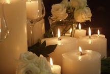 candles...glowing...CANDLE ART...flowers