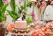 Casamento - decoração marrom e rosa