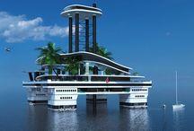 """Seasteading, House boats / Ciudades e infraestructuras flotantes, desde """"House Boats"""" a grandes complejos. La elevación del nivel del mar hará desgraciadamente necesarias infraestructuras de este tipo en muchos lugares . Dependiendo del lugar en que se emplacen pueden tener un alto grado de autosuficiencia."""