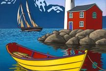 Deniz feneri ve kayık
