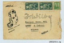 Illustrated with Love.... / How do you make your correspondence stand out? You illustrate the envelope of course! This collection of lovingly illustrated envelopes were sent to Florence Wilby (a member of the Women's Auxiliary Air Force parachute section) by schoolboy Jeffrey Timms during World War Two. The two met while Wilby was demonstrating parachute packing at Ballantynes, Timaru.  Interested in what she was doing, Timms asked to write to Wilby, and they corresponded 1941-3.