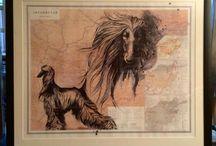 Aghan Hounds art / Afghan Hound artwork.....