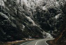 hill-side, road