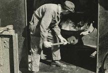Fotos do século XIX fogonero dun tren