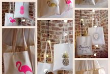 Tote bags! / Pineapples flamingos slogans...