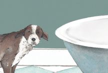 digs&manor greeting cards / The digs&manor collection is inspired by the home; the dog in his digs and the cat at the manor. Anna Danielle mixes her watercolour and pen drawing style with a flat graphic background.