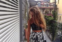 Outfit skirt leather crop top