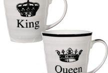 Kitchen Set Mug White Porcelain King Queen Beautiful Decoration Christmas Gift