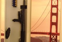 Home Defense Storage / Tactical weapon storage in secure steel cabinets mounted behind artwork in the wall.